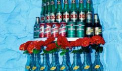 Plastic flowers adorn a tower of cervezas at funky Collingwood eatery, Hotel Jesus (photo: Tomas Friml).