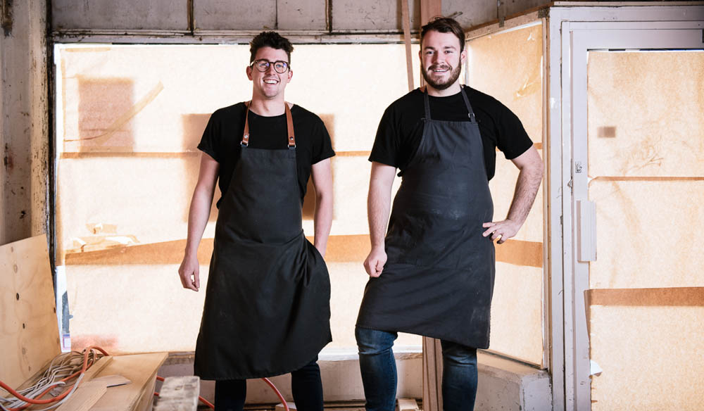 Chef Charlie Carrington (left, with sous chef Tom Johnson) demonstrates raw talent with his first restaurant (photo: Simon Shiff).
