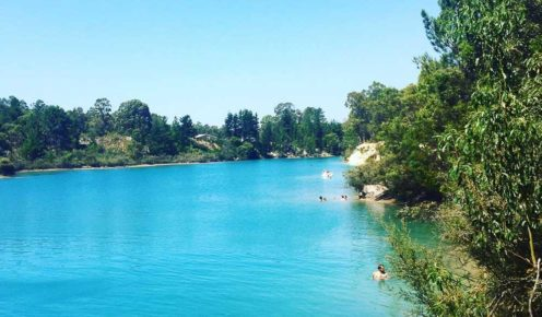 Black Diamond Lake, a long-closed coal mine transformed into a turquoise secret swim, near Collie. (photo: Ella Liascos)
