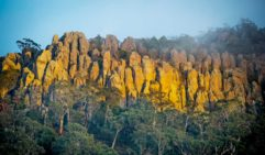 The sun sets on Hanging Rock in Victoria.