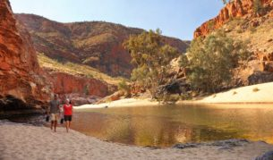 walking northern territory australian landscape gorge red cliffs