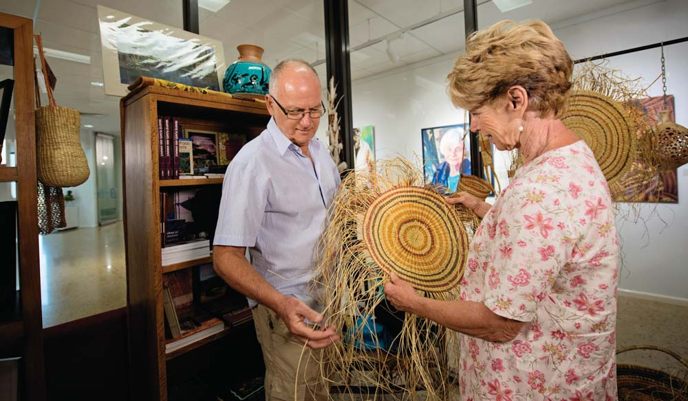 Drop into an art centre. The centres provide spaces for the artists to work in. Godinymayin Yijard Rivers Art and Culture Centre, Katherine (photo: Tourism NT).