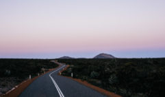 Driving through WA's outback roads at dusk (photo: Elise Hassey).