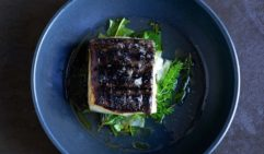 Bistro Officina's menu changes often. Delicate serving of mahi mahi, fennel, burnt orange salsa verde.
