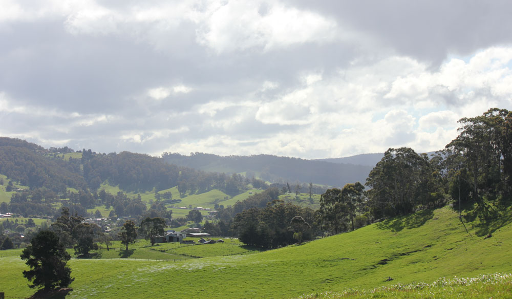 Rural idealistic Huon Valley in Tasmania