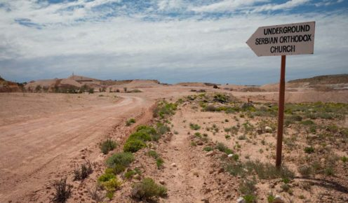 All roads lead to (well this one does) to Coober Pedy's Underground Serbian Orthodox Church (photo: Jonathan Cami).