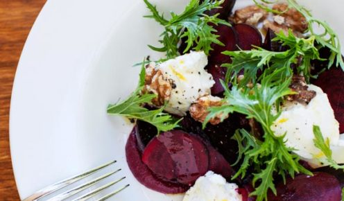 Goat's curd and beetroot salad at Peppermint Bay in Huon Valley, Tasmania (photo: Rémi Chauvin).