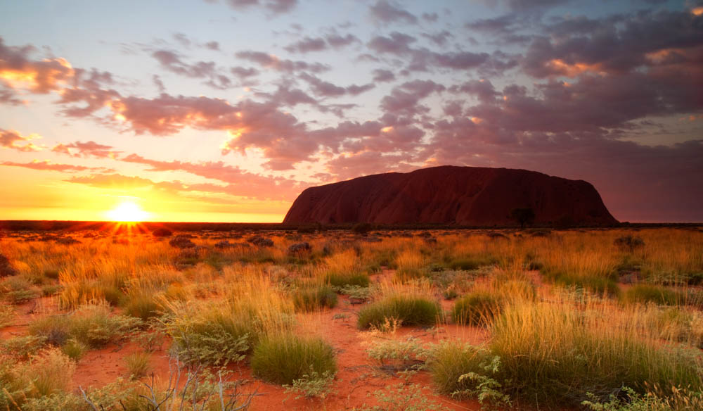 Dawn over Uluru. Ayers Rock Campground is the closest place to stay if you're planning a visit.