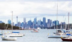 Sydney skyline and Parsley Beach.