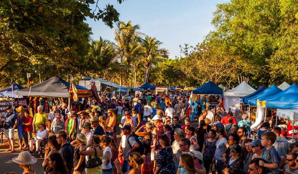 Darwin's Mindil Beach Sunset Markets draws locals and tourists alike.