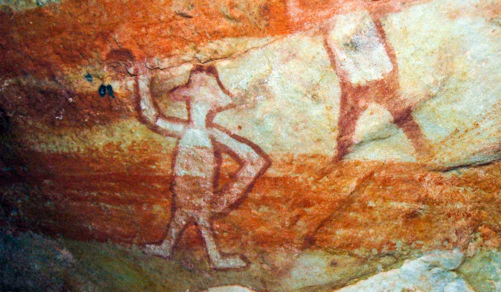 Aboriginal rock art on Wessel Islands. The Islands are a part of the Arnhem Land Aboriginal Reserve.