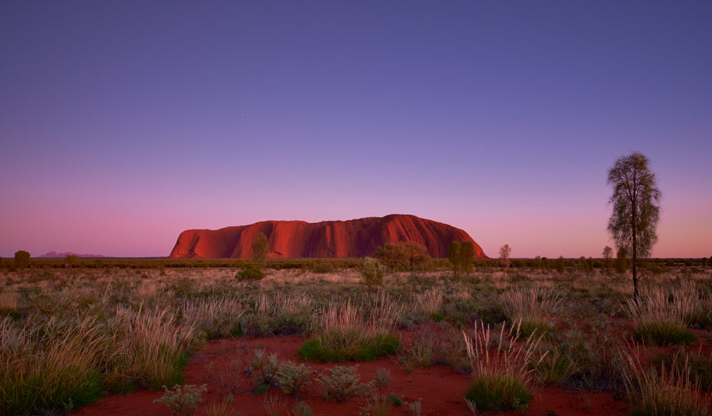 Stars light up the sky behind unforgettable Uluru in the Northern Territory.