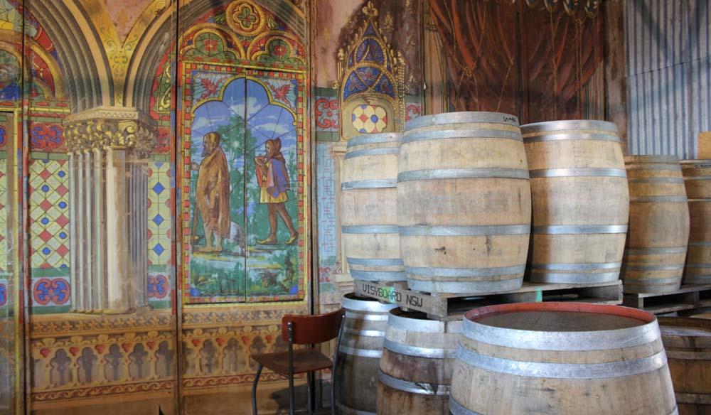 Vintage theatre props decorate the De Salis cellar door (photo: Lara Picone).