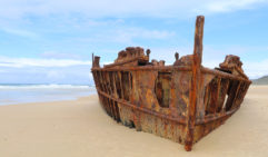 The SS Maheno wreck. a rustically rusty Fraser Island (photo: Steve Madgwick).