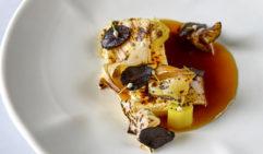 Press Curd, Charred Leek and Black Garlic dish from Yellow in Sydney.