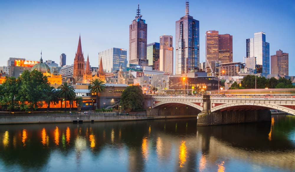 Melbourne city skyline.