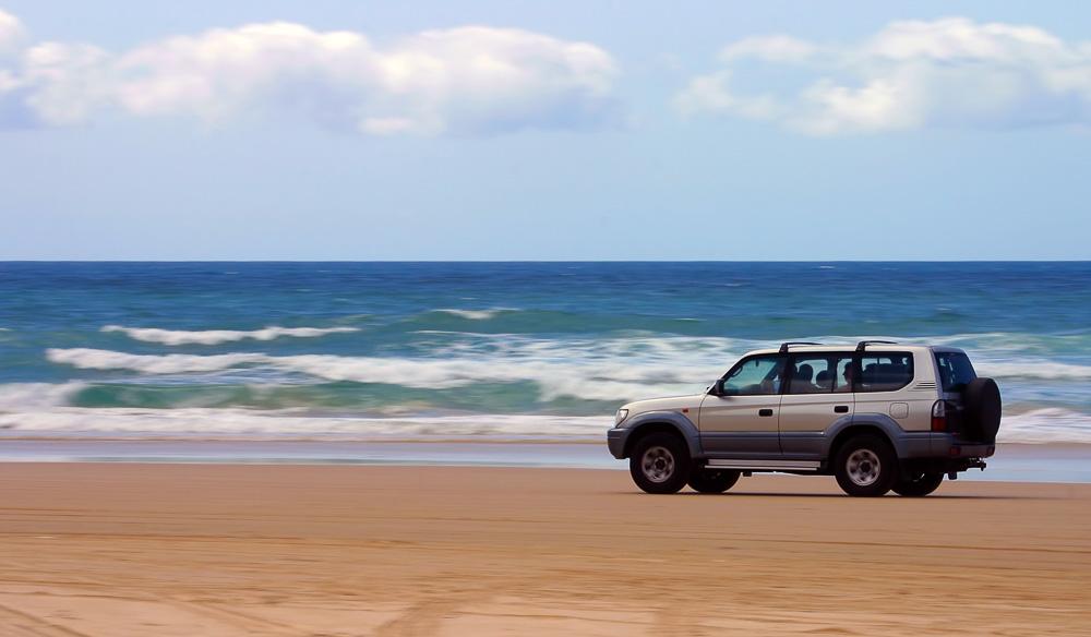 Hard sand 4WD beach driving Fraser Island