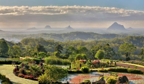 Take a drive to the Maleny Botanic Gardens to see the Glass House Mountains.
