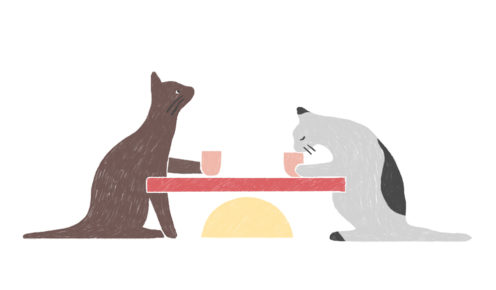 Cat cafes are resonating with people who'd love a pet of their own but circumstance, such as their rental rules, means they can't (illustration: Carla McRae).