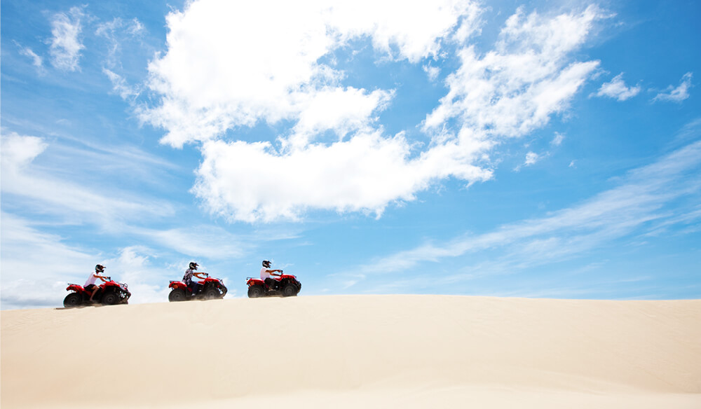 Spanning 32 kilometres, the Stockton Bight Sand Dunes can be conquered by quad-bike, sand board, camel, and horseback.