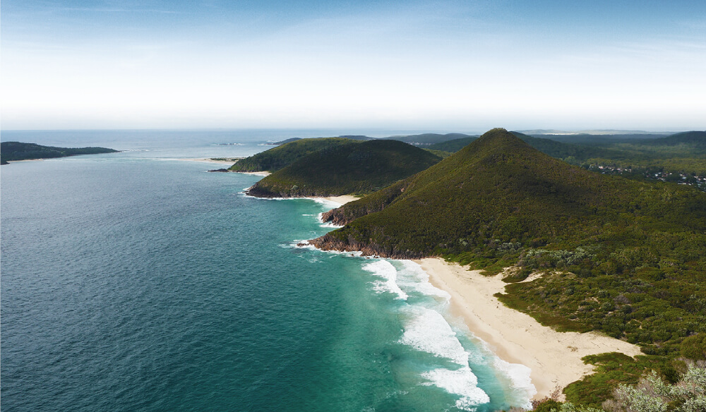 The view from Mount Tomaree takes in several of the 26 beaches and bays in the Port Stephens area.