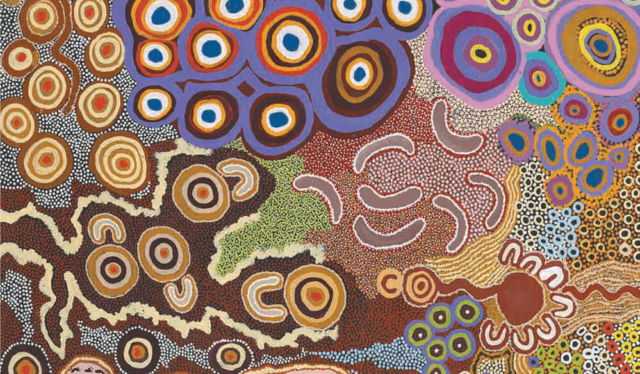 Kungkarrangkalpa Tjukurrpa 2015 by Anawari Inpiti Mitchell, Angilyiya Tjapiti Mitchell, Lalla West, Jennifer Nginyaka Mitchell, Eileen Tjayanka Woods, Lesley Laidlaw and Robert Woods, Papulankutja Artists © the artists / licensed by Viscopy 2017