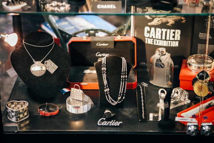 A collection of Cartier jewellery in a cabinet at Dirty Jane's Antique store in Bowral.