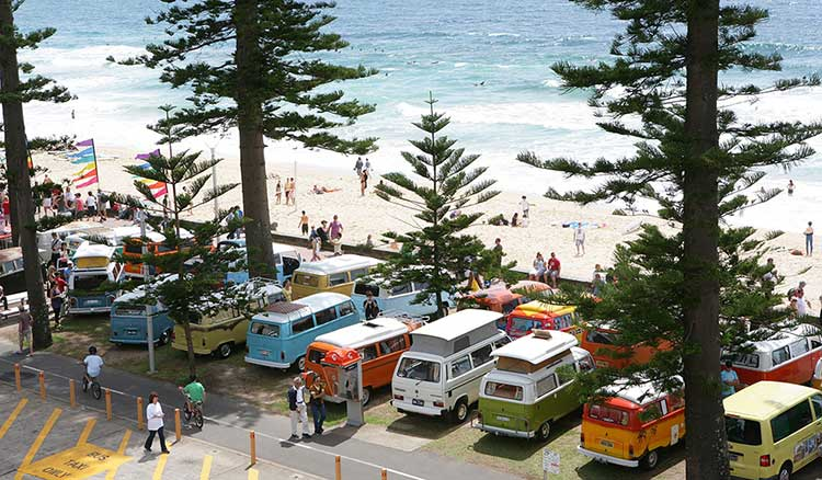 Manly beach, Sydney on a busy summer's day.