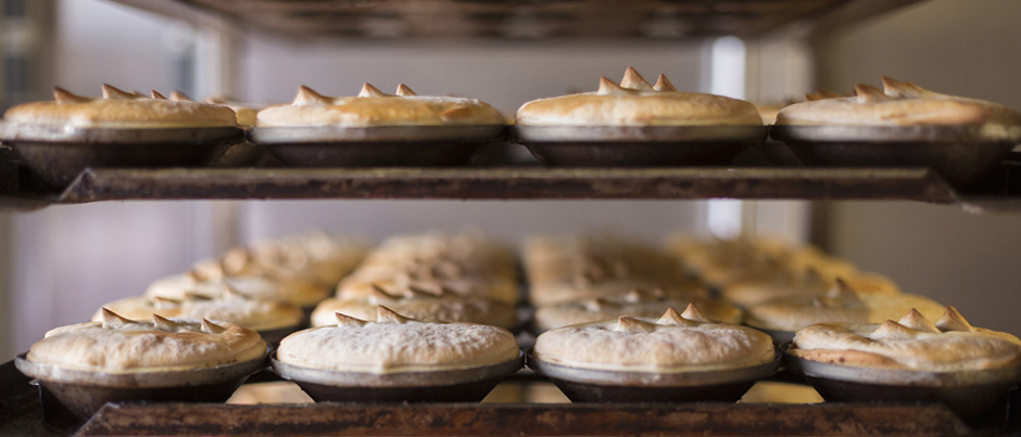 Hot pies out of the oven at Trappers Bakery. Image courtesy of Trappers Bakery, Goulburn.