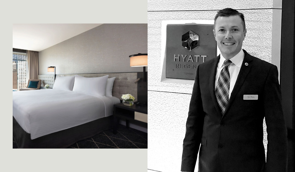 From right to left: Located in Sydney's Central Business District is Hyatt Regency. Peter Brown, chief concierge at Hyatt Regency Sydney.