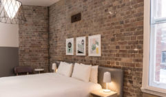 Exposed brick gives away The Ultimo's heritage.