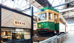 The vintage tram takes pride of place in the revitalised space.