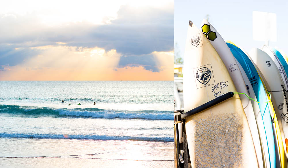 From left to right: An evening surf at Maroochydore Beach; Surfboards for sale (photo: Kara Rosenlund).