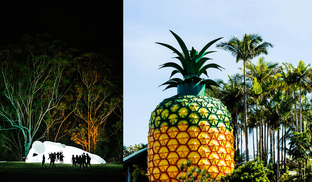 From left to right: A light installation at MMVAF; The heritage-listed Big Pineapple (photo: Mitch Lowe & Kara Rosenlund).