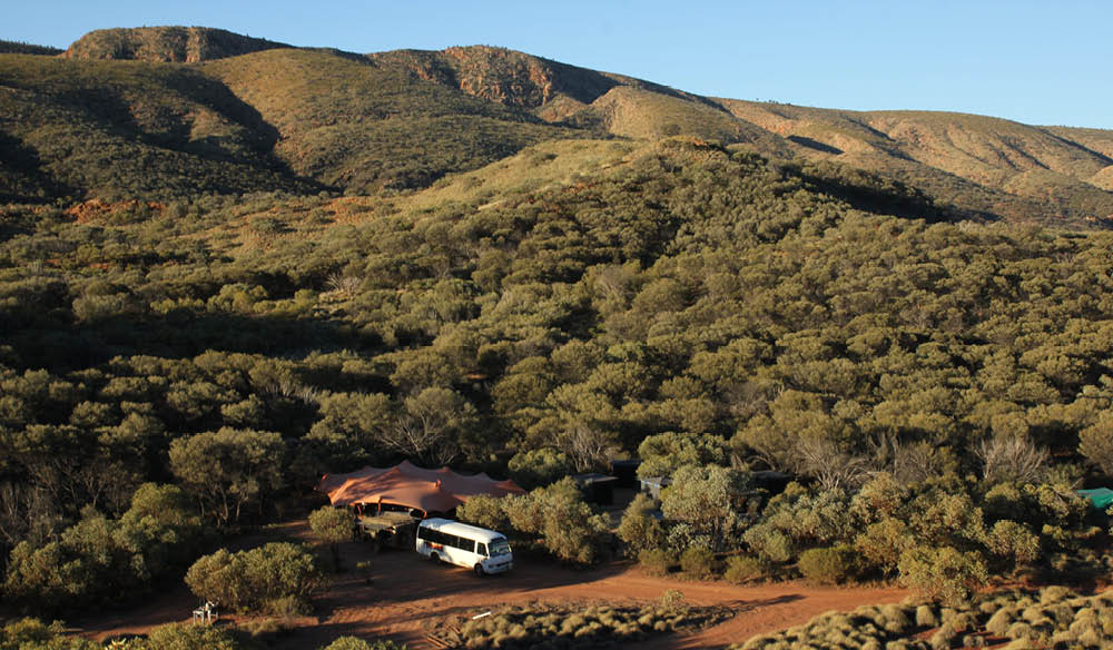 Testing your outback endurance in style: Charlie's Camp, Larapinta Trek.
