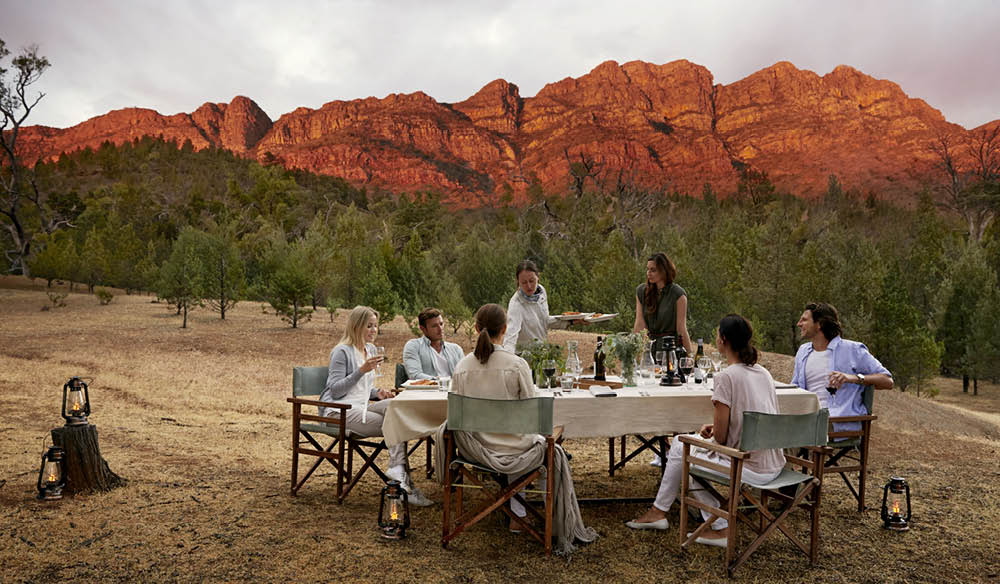 Elder Camp: your day-three outdoor dining room on the Arkaba Walk, outback South Australia.