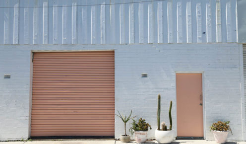 THAT peach door at The Borrowed Nursery - Photo Celeste Mitchell