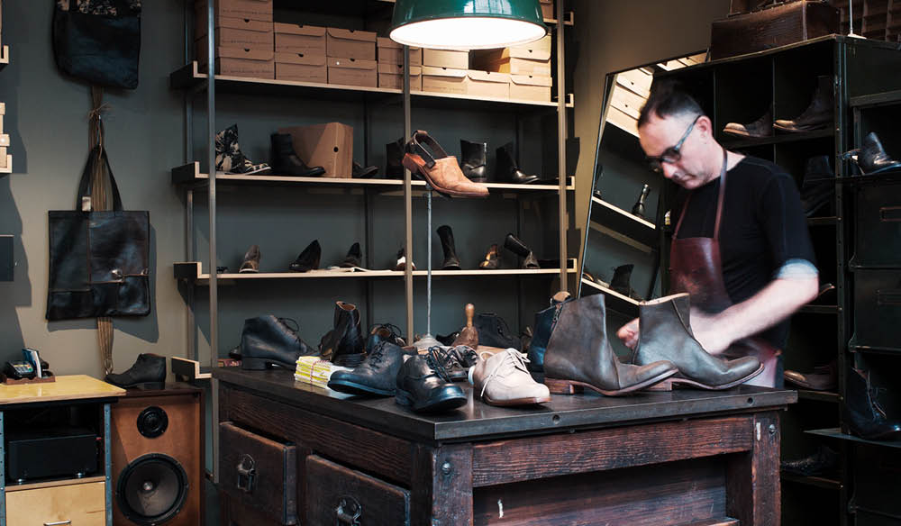 Andrew McDonald in his workshop and store in Sydney's Strand Arcade  (photo: Jonathan Cami).
