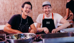 Darren (right) cooks up a feast (photo: Julian Rau).