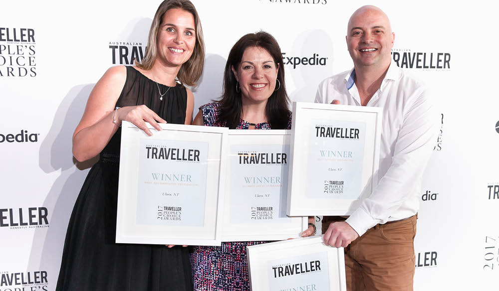 Janneke Leffers and Karena Noble of Voyagers and Tony Quarmby of Tourism NT.
