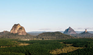 Forested Glass house Mountains Sunshine Coast