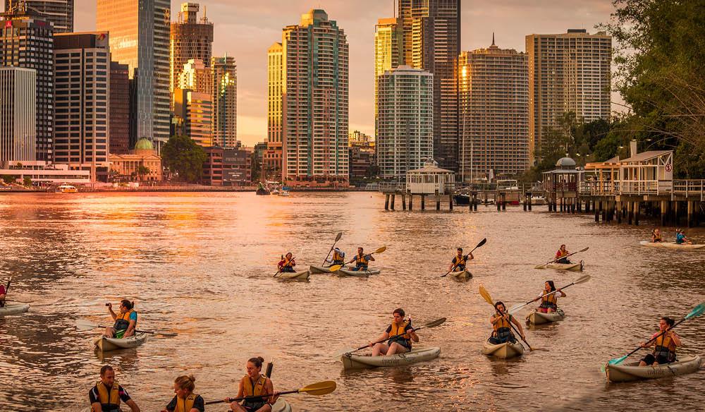 Riverlife illuminated kayak tour Brisbane River New Year's Eve