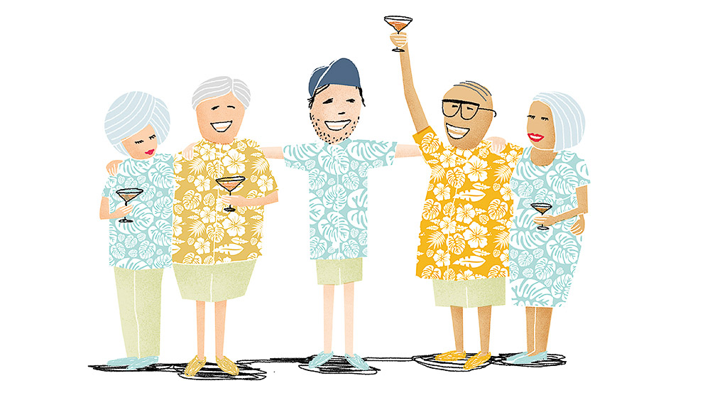 What happens when a Gen-Xer wanders onto to a baby boomer cruise? (illustration: Mike Rossi).