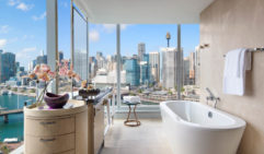 The Sofitel's superior room has views of the city, even in the bathroom.