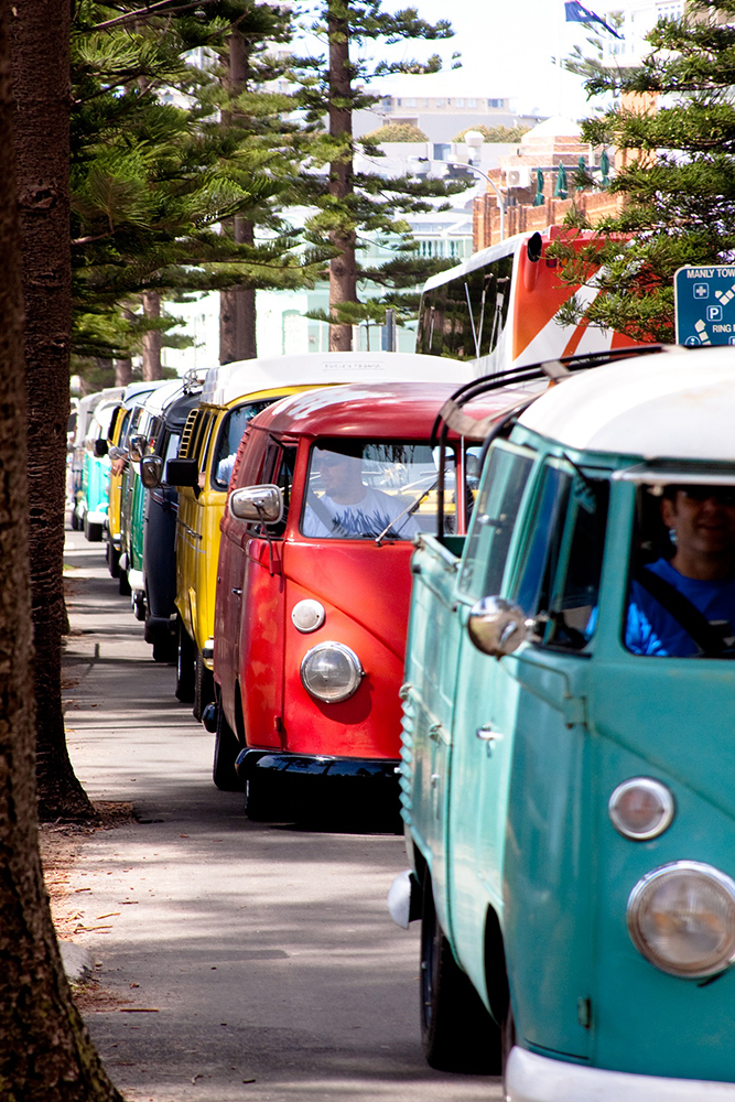 Close-up of the retro Kombi vans that are a part of the Kombi rally.