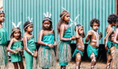 Tentative first steps: Wanyur Majay Yidinji performers from Yarrabah (photo: Elise Hassey).
