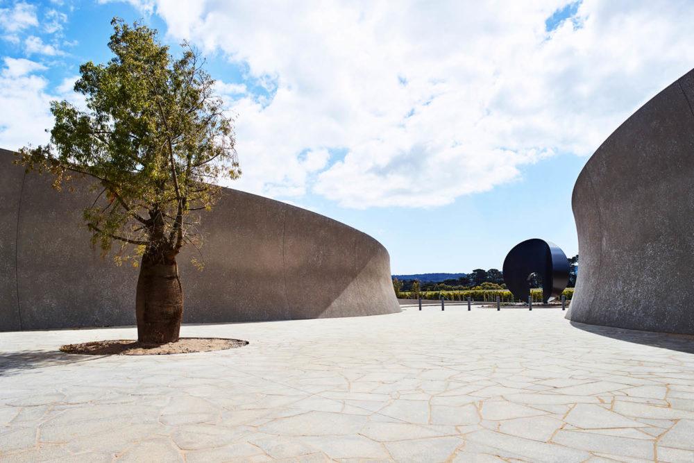 Pt. Leo Estate's sculptural entrance Mornington Peninsula