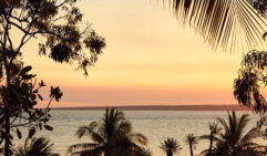 Dusk lends a delicate light  to Groote Eylandt Lodge (photo: Sean Fennessy).