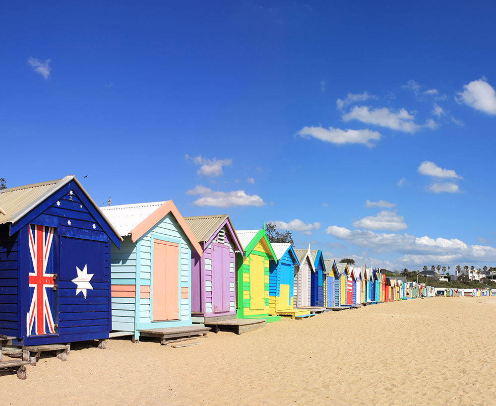 Colourful bathing boxes at Brighton Beach, Melbourne, Australia.  A Melbourne icon.