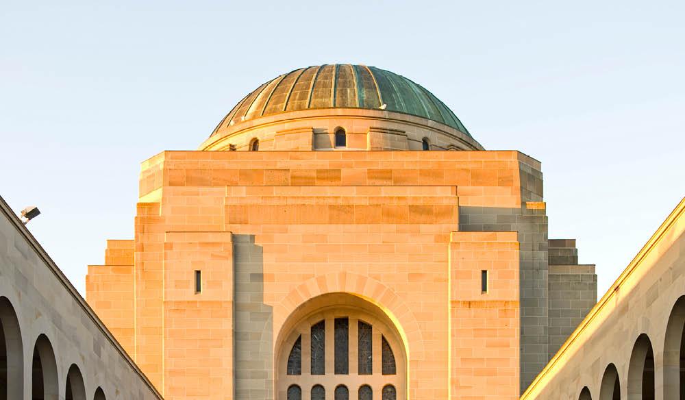War Memorial in Canberra, Australia during sunset